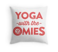 Yoga With The Omies - Yoga Top, Funny Yoga Quote, Red Ink Throw Pillow