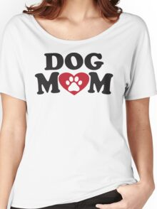 Dog Mom - Paw Print Red Heart Dog Lovers Shirt Women's Relaxed Fit T-Shirt