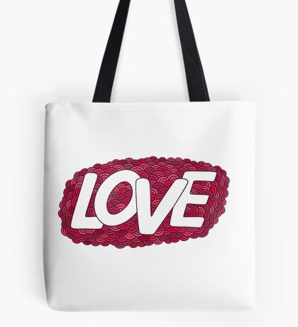Love.Red Hand drawn doodle vector  illustration. Tote Bag