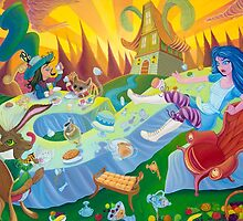 A mad tea-party - Alice and the Jumping Couch (Pillows & Totes) by Wil Zender