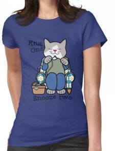 Knit One Snooze Two Knitting Kitty Womens Fitted T-Shirt