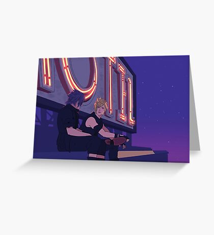 Chit Chat on Motel Rooftops Greeting Card