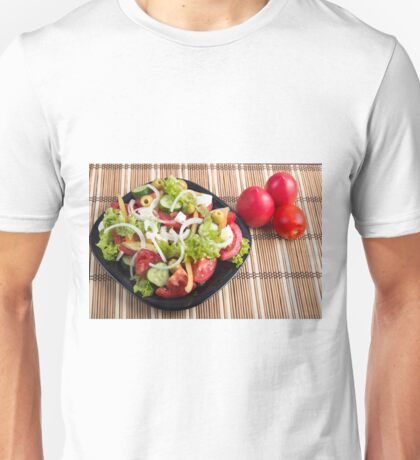 Useful and natural vegetable salad of tomato, cucumber, olives Unisex T-Shirt