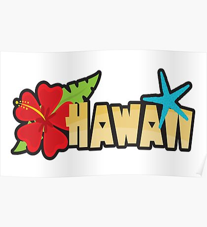 HAWAII TROPICAL BEACH HIBISCUS STAR FISH OAHU Poster
