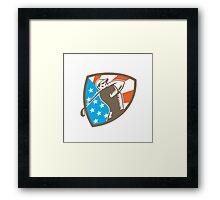 American Golfer Tee Off Golf Shield Woodcut Framed Print