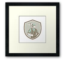 Organic Farmer Rake Shield Woodcut Retro Framed Print