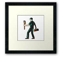 Plumber Walking Carry Toolbox Wrench Woodcut Framed Print