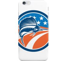 Sailfish Fish Jumping American Flag Circle Retro iPhone Case/Skin