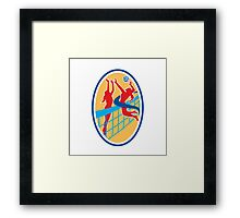 Volleyball Player Spiking Ball Blocking Oval Framed Print