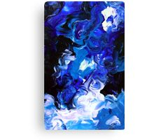 Sky Blue Modern Abstract Painting White Black Canvas Print