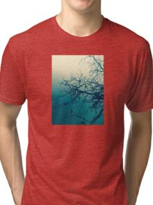 Tree in fog at Cataract Gorge Launceston Tasmania Tri-blend T-Shirt