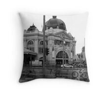 Rainy Day - Flinders Street Station, Melbourne Throw Pillow
