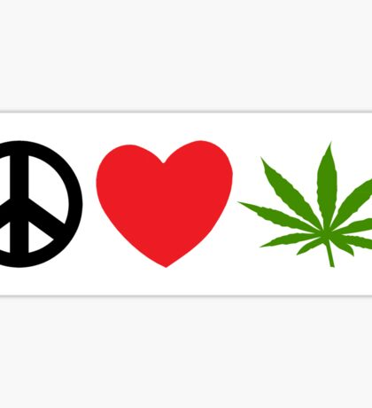 Peace Love Marijuana Sticker