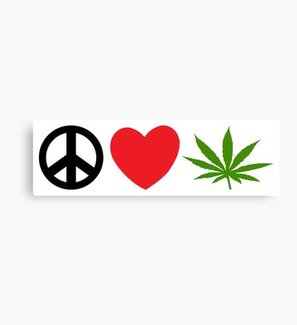 Peace Love Marijuana Canvas Print