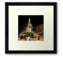 Rome's Fabulous Fountains – Triton Fountain at Night Framed Print