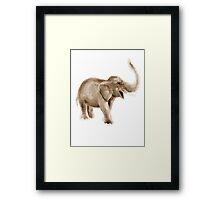 Elephant watercolor art print painting, brown elephant home decor Framed Print