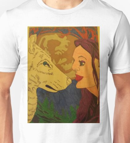 Wolf and women close bond  Unisex T-Shirt