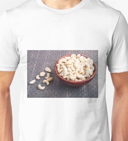 Selective focus on at the tasty and healthy raw cashew nuts Unisex T-Shirt