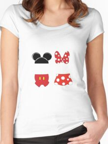 Mickey and Minnie Icons Women's Fitted Scoop T-Shirt