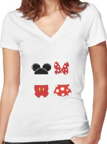 Mickey and Minnie Icons Women's Fitted V-Neck T-Shirt