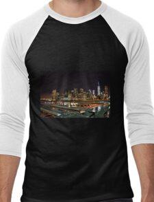 NYC Night Skyline Men's Baseball ¾ T-Shirt