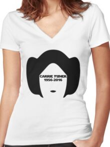 Carrie Fisher Women's Fitted V-Neck T-Shirt