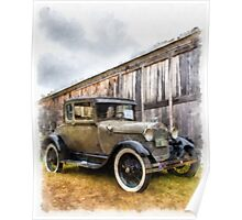 1928 Ford Model A Watercolor Poster