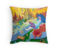 A mad tea-party - Alice and the Jumping Couch (Pillows & Totes) Throw Pillow