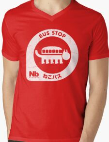 Neko Bus Stop Mens V-Neck T-Shirt