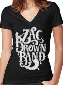 DEN07 Zac Brown Band Tour Women's Fitted V-Neck T-Shirt