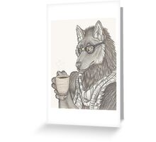 Hipster Wolf Greeting Card