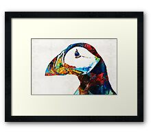 Colorful Puffin Art By Sharon Cummings Framed Print