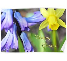 Happy Easter - spring flowers Poster