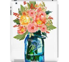 Mason jar watercolor flowers iPad Case/Skin