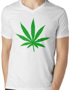 Marijuana Leaf Mens V-Neck T-Shirt