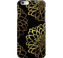 Dahlia on black and gold pattern design iPhone Case/Skin