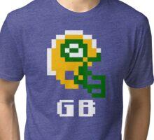 Tecmo Bowl, Tecmo Super Bowl, Tecmo Bowl Shirt, Tecmo Bowl T-shirt, Tecmo Bowl Helmet, GB Helmet, GB Tri-blend T-Shirt