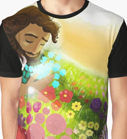 Easter Ressurection Day - Jesus in field of flowers Graphic T-Shirt