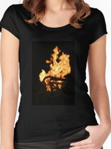 Flames Women's Fitted Scoop T-Shirt
