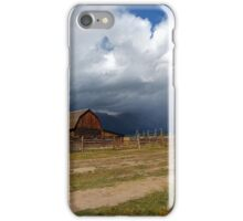 Storms approach the Mormon Barns at Grand Teton National Park iPhone Case/Skin