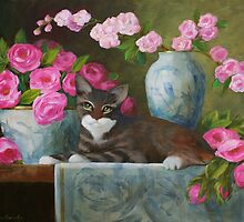 Striped Kitten with Pink Roses by Sue Cervenka