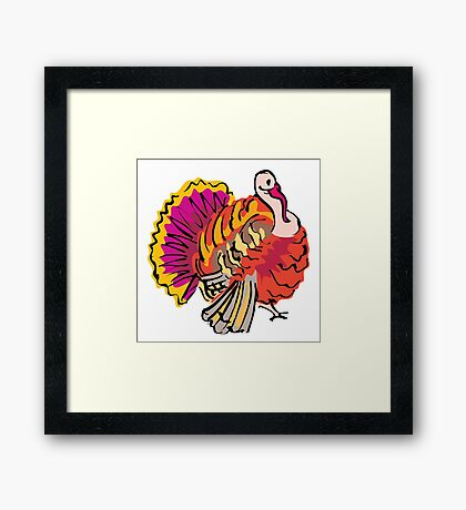 Multi colored graphic turkey Framed Print