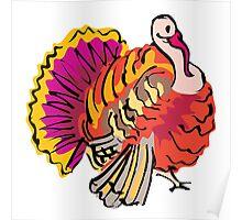 Multi colored graphic turkey Poster