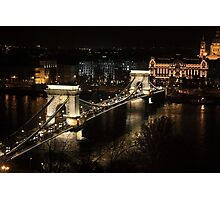 Chain bridge of Budapest at night Photographic Print