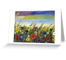 Wild Field Flowers in the Breeze Greeting Card