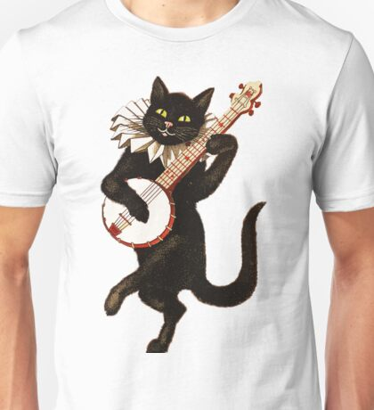 Vintage Cat Playing Banjo Unisex T-Shirt