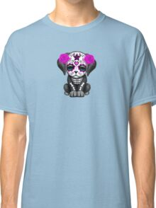 Cute Purple Day of the Dead Puppy Dog Blue Classic T-Shirt