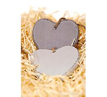 grey wooden love hearts with copy space Photographic Print