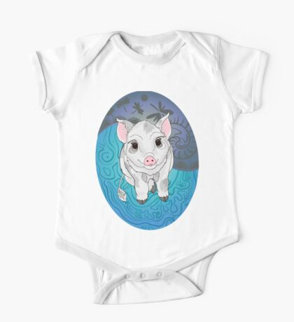 White and Grey Piglet with Shell background  One Piece - Short Sleeve
