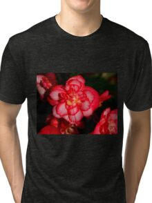 Red Begonia Flower Tri-blend T-Shirt